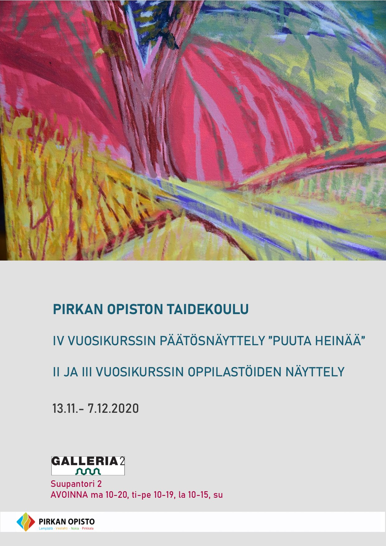 Juliste: Kuvataidekoulun näyttely syksy 2020 Pirkkala. Tieto löytyy tekstistä.