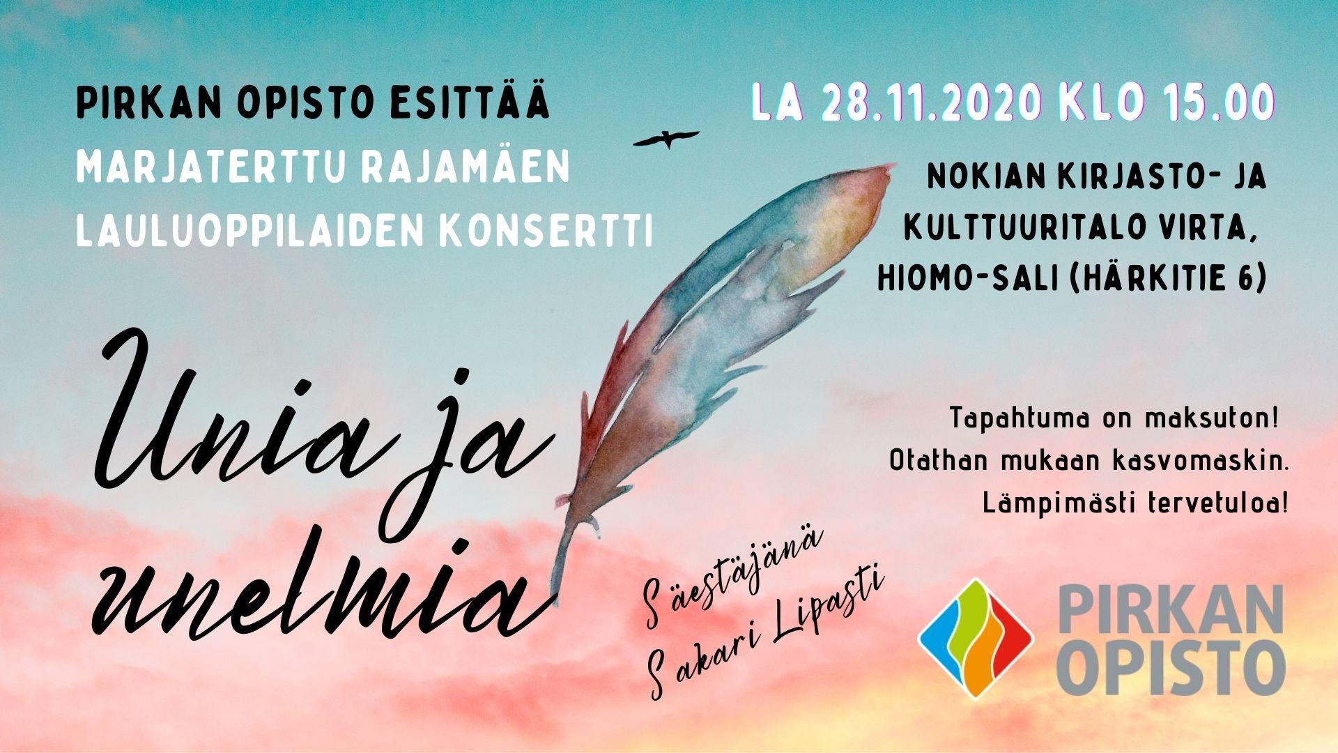 Konserttimainos: Laulajien konsertti Unia ja unelmia 28.11.2020