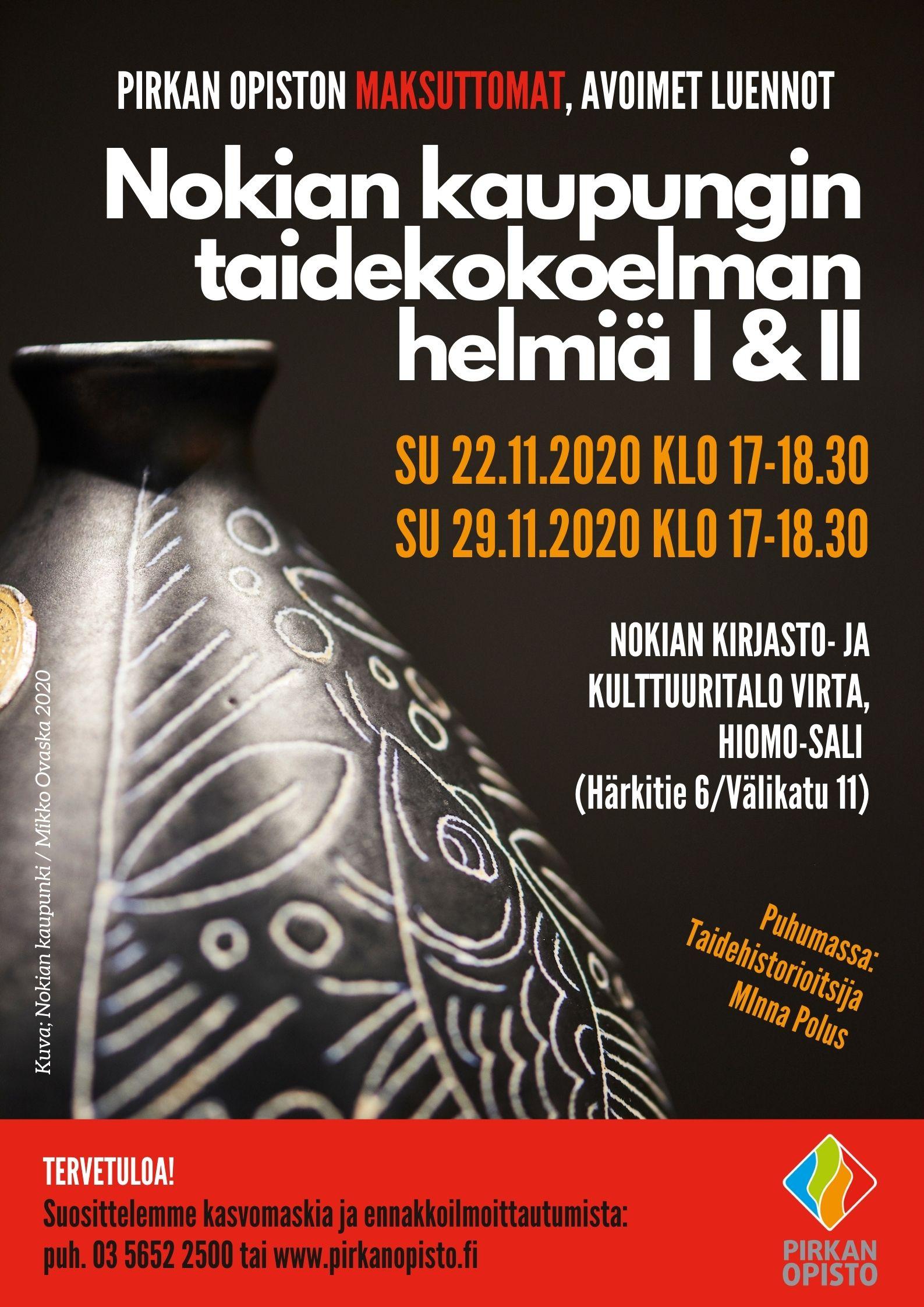 Luentomainos: Nokian kaupungin taidekokoelman helmiä 1 ja 2