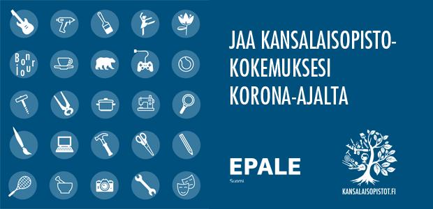 Epalen logo ja mainos, jossa kehotetaan osallistumaan kyselyyn. Sinisellä taustalla valkoisia kuvioita.